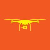 abejón Diseño plano amarillo del vector del color con el fondo anaranjado Foto de archivo