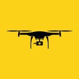 abejón Diseño plano negro del vector del color con el fondo amarillo Imagen de archivo libre de regalías