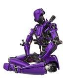 Abejón estupendo del robot púrpura mega en un fondo blanco libre illustration