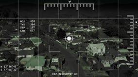 Abejón/helicóptero/UAV que sigue la cantidad de la antena de la vecindad 4k de la búsqueda