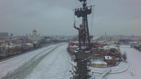 Abejón hermoso aéreo 4k del helicóptero de Moscú almacen de video