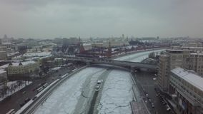 Abejón hermoso aéreo 4k del helicóptero de Moscú metrajes