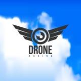 Abejón hermoso que compite con el logotipo en un fondo del cielo Imagen de archivo