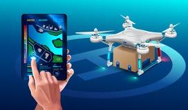 Abejón postal aterrizado con el paquete de la caja del cartón Mensajero de Quadcopter Envío autónomo de la entrega de la tecnolog Foto de archivo libre de regalías