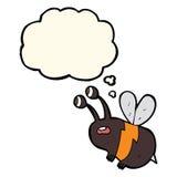 abeja asustada historieta con la burbuja del pensamiento Foto de archivo libre de regalías