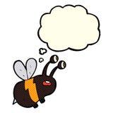 abeja asustada historieta con la burbuja del pensamiento Foto de archivo