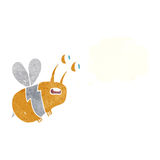 abeja asustada historieta con la burbuja del pensamiento Fotografía de archivo libre de regalías