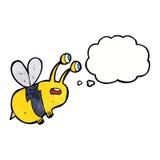 abeja asustada historieta con la burbuja del pensamiento Imagen de archivo