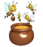 Abeja con el pote de la miel stock de ilustración
