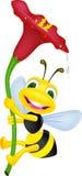Abeja con la flor Fotos de archivo libres de regalías