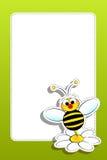 Abeja con la margarita y el marco en blanco stock de ilustración