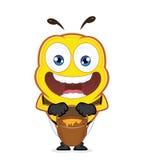 Abeja con un tarro de miel stock de ilustración