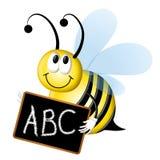 Abeja de deletreo con la pizarra del ABC Imagenes de archivo