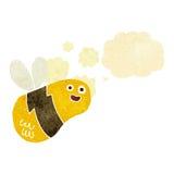 abeja de la historieta con la burbuja del pensamiento Imagenes de archivo