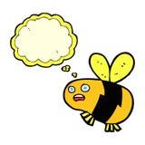 abeja de la historieta con la burbuja del pensamiento Foto de archivo libre de regalías