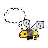 abeja de la historieta con la burbuja del pensamiento Imagen de archivo