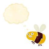 abeja de la historieta con la burbuja del pensamiento Imagen de archivo libre de regalías