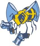 Abeja de la historieta del vector con dos pistolas Fotografía de archivo libre de regalías
