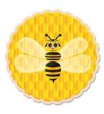 Abeja de la miel con el fondo del peine de la miel Fotos de archivo libres de regalías