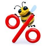 abeja de la miel 3d con símbolo del tipo de interés stock de ilustración
