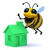 abeja de la miel 3d con una casa verde libre illustration