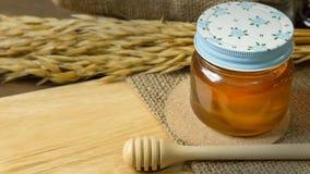 Abeja de la miel en la botella de cristal en la tabla de madera Foto de archivo libre de regalías