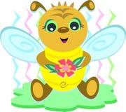 Abeja del bebé con la flor Imagenes de archivo