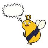 abeja divertida de la historieta con la burbuja del discurso Imagen de archivo libre de regalías