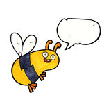 abeja divertida de la historieta con la burbuja del discurso Imagen de archivo