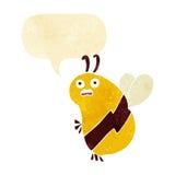 abeja divertida de la historieta con la burbuja del discurso Foto de archivo libre de regalías