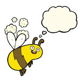 abeja divertida de la historieta con la burbuja del pensamiento Fotos de archivo