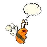 abeja divertida de la historieta con la burbuja del pensamiento Imágenes de archivo libres de regalías