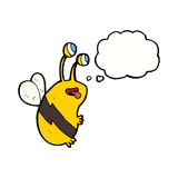 abeja divertida de la historieta con la burbuja del pensamiento Imagen de archivo libre de regalías