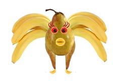 Abeja divertida hecha de plátanos y de peras Imagen de archivo libre de regalías