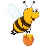 Abeja feliz con el tarro de la miel Fotos de archivo