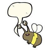 abeja feliz de la historieta con la burbuja del discurso Fotografía de archivo libre de regalías