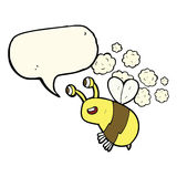 abeja feliz de la historieta con la burbuja del discurso Foto de archivo