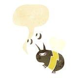 abeja feliz de la historieta con la burbuja del discurso Fotografía de archivo