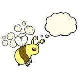 abeja feliz de la historieta con la burbuja del pensamiento Fotos de archivo