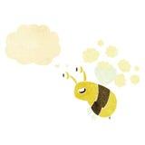 abeja feliz de la historieta con la burbuja del pensamiento Fotografía de archivo libre de regalías