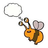abeja feliz de la historieta con la burbuja del pensamiento Imagen de archivo libre de regalías