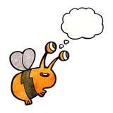 abeja feliz de la historieta con la burbuja del pensamiento Imagen de archivo