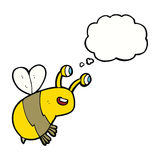 abeja feliz de la historieta con la burbuja del pensamiento Imagenes de archivo