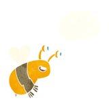 abeja feliz de la historieta con la burbuja del pensamiento Fotografía de archivo