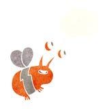 abeja feliz de la historieta con la burbuja del pensamiento Imágenes de archivo libres de regalías