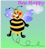 Abeja feliz, pequeña abeja stock de ilustración