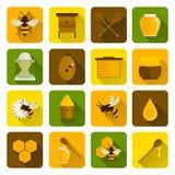 Abeja Honey Icons Flat Fotografía de archivo libre de regalías