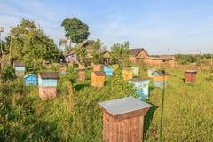 Abeja-jardín de la granja con los beehouses multicolores Fotografía de archivo libre de regalías