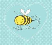 Abeja mi tarjeta de la tarjeta del día de San Valentín Foto de archivo