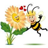 Abeja y flor en el ejemplo lindo del vector de los personajes de dibujos animados del amor ilustración del vector